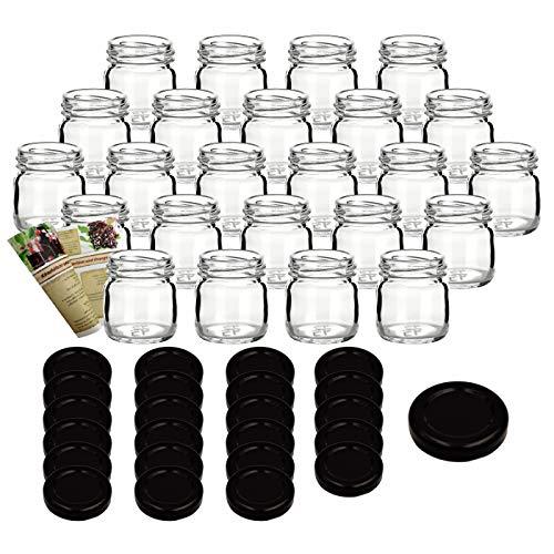 gouveo Set di 18 vasetti Mini 40 ml con Chiusura Girevole TO 43 Nero, vasetti di stoccaggio, vassoi di marmellata, conservazione vasetti, vasi di Spezia, vasi invertenti