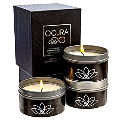 Oojra Essential Oil Scented Soy Wax Luxury Travel Candle Gift Set of 3 with Gift Box