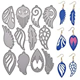 LOOGOOL Leather Earring Cutting Dies, 12 Pieces Feather Shape Metal Die Cuts for Leather Earrings Making DIY Crafts