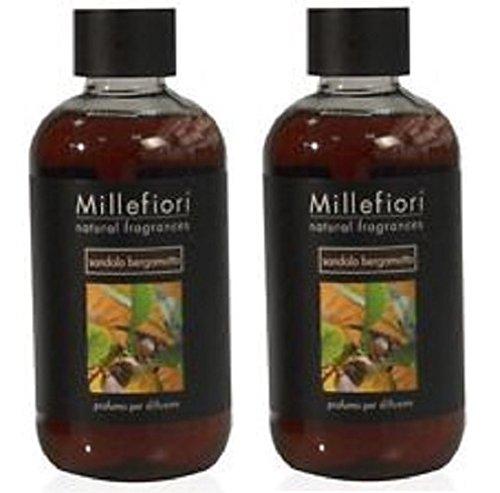 Millefiori Milano Recharge Parfums d'ambiance 500 ml série Natural Parfum santal Bergamote 2 Packs – Recharge pour diffuseur de parfum à bâtonnets.