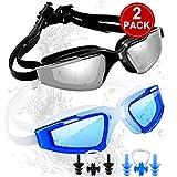 SBORTI Swim Goggles Swimming Goggles, Pack of 2 No Leaking Anti Fog UV Protection Swim Glasses Water Goggles...