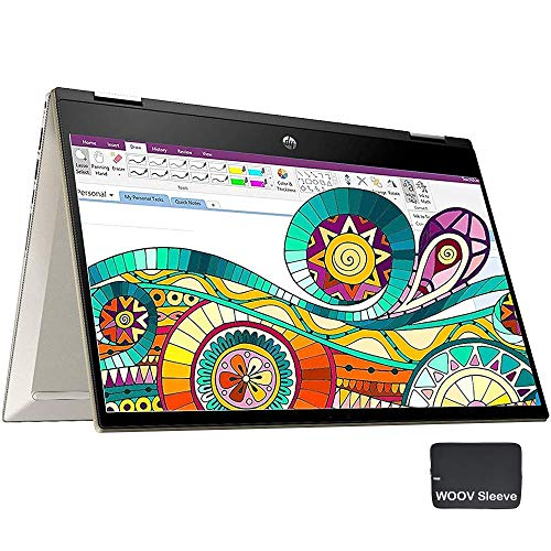 "HP Pavilion x360 2-in-1 14"" FHD Touchscreen Laptop Computer, 10th Gen Intel Quad-Core i5 1035G1 (Beats i7-7500u), 8GB DDR4 RAM, 512GB PCIe SSD, Gold, Remote Work, Windows 10, BROAGE 64GB Flash Stylus"