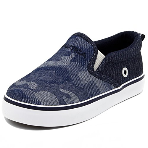 Nautica Akeley Toddler Canvas Sneaker Slip-On Casual Shoes-Denim Camo-10