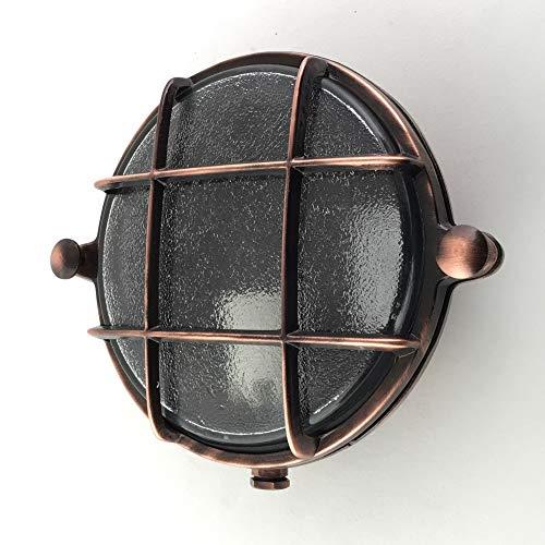 KsH y Co IP64 Lámpara redonda de cobre esmerilado con mamparo náutico con enchufe de porcelana E14