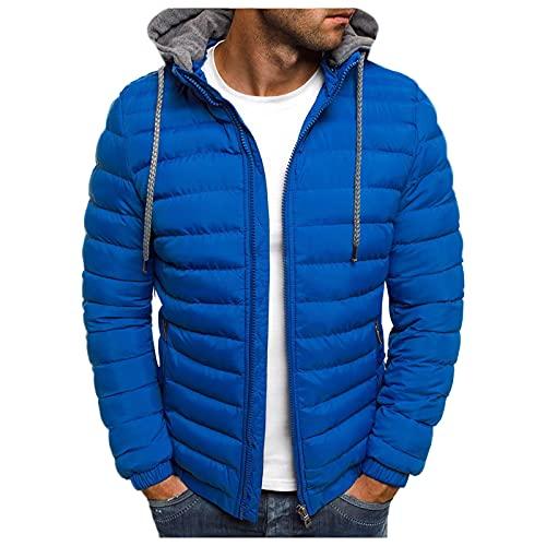 URIBAKY - Chaqueta de moto para hombre, estilo chic Plus con cremallera, bolsillo acolchado, de algodón, abrigo de otoño e invierno, chaqueta de moto para...