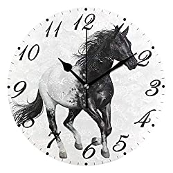 Pfrewn Black and White Horse Wall Clock Silent Non Ticking, Clocks Battery Operated Vintage Desk Clock 10 Inch Quartz Analog Quiet Bedroom Living Room Home Decor