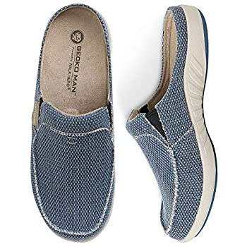 Mens Slippers with Arch Support Canvas House Slipper for Men with Suede Wool Insole and Velvet Lining Slip on Clog House Shoes with Indoor Outdoor Anti-Skid Rubber Sole Navy 10.5