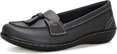 Flats Shoes Loafers for Women, Classic Genuine Leather Loafers Casual Slip-On Boat Shoes Fashion Comfort Flat Driving Walk...