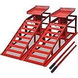 Tidyard Set de 2 Rampas para Coches Rampas para Vehículos Rampa para Moto Elevador de Coches para Reparar Acero Rojo 115x32x31cm