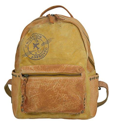 Sunsa Damen Rucksack Backpack große Schultertasche Umhängetasche Ranzen Daypack Vintagetasche in Vintage Retro Design Damentasche Frauentasche Canvas mit Leder kleine Rucksäcke für Frau