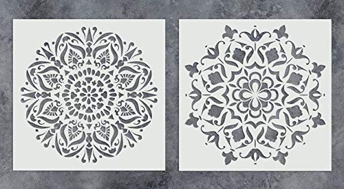 GSS Designs Pack of 2 Mandala Stencils Set (12x12 Inch) Painting for Wood Wall Furniture Floor Tiles Glass Fabric - Reusable Airbrush Template (SL-013)
