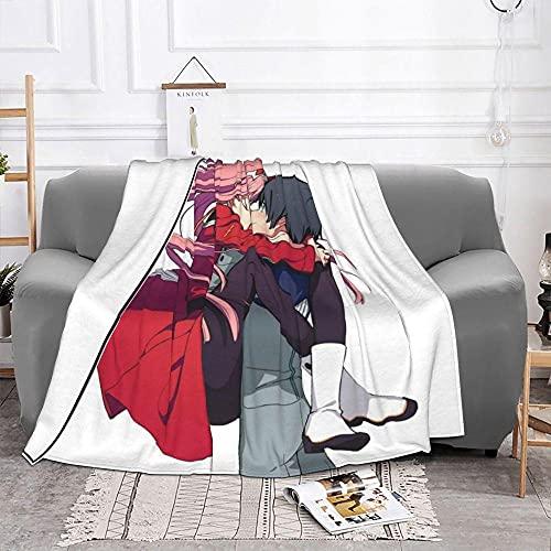 Darling in The Franxx Mantas Franela Invierno Anime multifunción Ultra Suave Mantas para Oficina en casa Colcha Anime (39.37x47.24in)