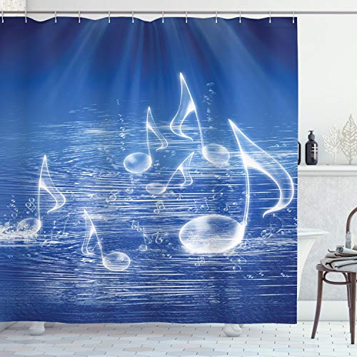 """Ambesonne Music Shower Curtain, Water Musical Notes Bubbles Dancing Waves Fantasy More Than Real Theme, Cloth Fabric Bathroom Decor Set with Hooks, 70"""" Long, Blue"""