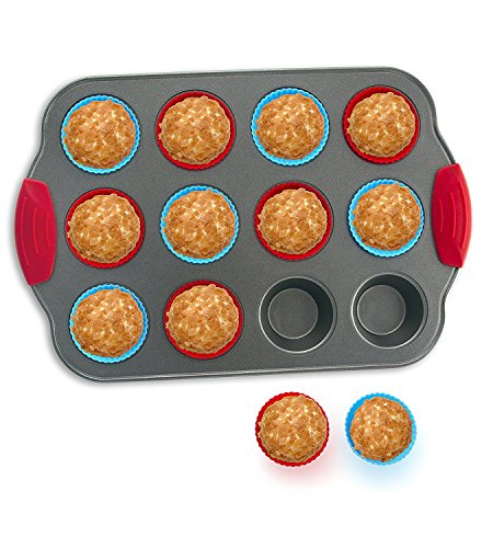 Boxiki Kitchen 12-Cup Mini Muffin Pan with Silicone Muffin Cups (Set of 12)