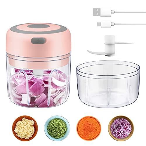 Zhangpu Mini Elektrischer Zerkleinerer mit USB-Aufladung Universalzerkleinerer Chopper 100ML & 250ML Zwiebel Knoblauch Chopper mit 2 verschiedenen scharfen Klingen für Gemüse, Obst und Fleisch(Rosa)