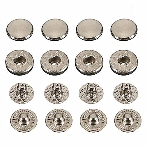 30 set/lote 10MM 12.5MM 15MM 17MM Metal Latón Presione Botones de cierre a presión Broche de remache DIY Cinturón de cuero con herramienta de instalación-Plata, 15MM