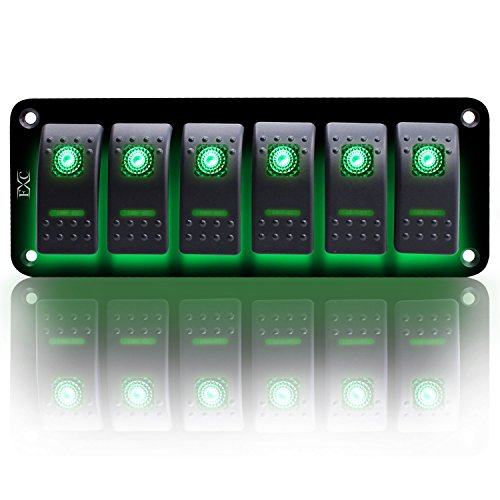 FXC Rocker Switch Aluminum Panel 6 Gang Toggle Switches Dash 5 Pin ON/Off 2 LED Backlit for Boat Car Marine Green