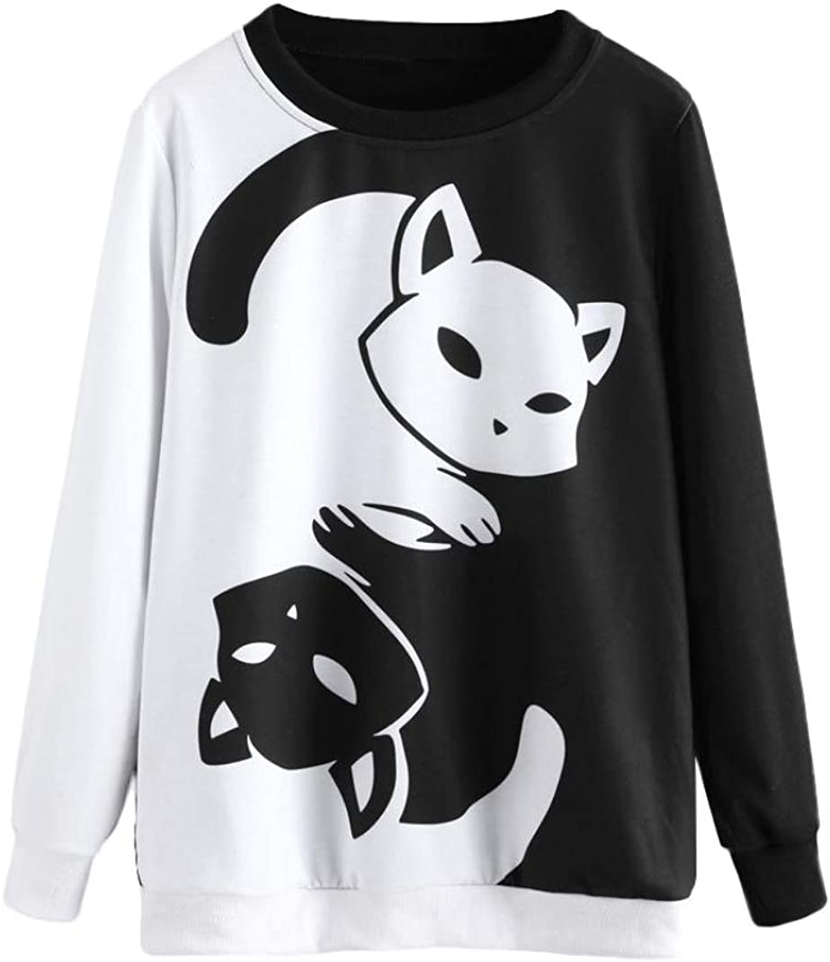 Mujer Manga Larga Impresi/ón Gato Camisa Casual Blusa Slim Tops Barata Atractivas Blusas Mujer Elegante Ropa de Mujer en Oferta Tallas Grandes T shrist K-youth Camiseta para Mujer Negro, XL