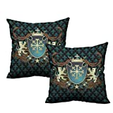 2 Piece Pillow Cover Heraldic Design of a Middle Ages Coat of Arms Cross Crown Lions Swirls 24'x24',Hidden Zipper