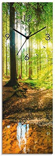 Artland Wanduhr ohne Tickgeräusche Glasuhr mit Motiv Design Quarz lautlos Größe: 20x60 cm Wald mit Bach T9IO Grün