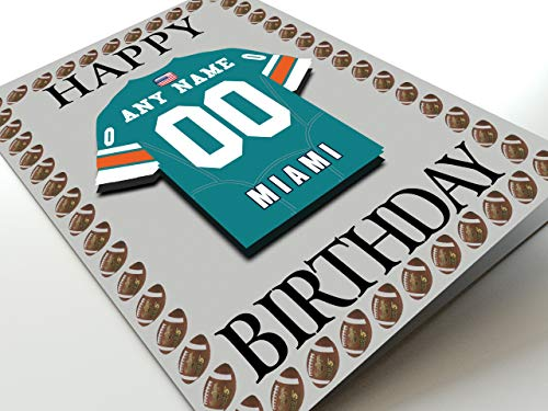 NFL National Football League Geburtstagskarte, mit Trikot-Kühlschrank-Magnet Miami Dolphins NFL Fridge Magnet Card A5 Fridge Magnet Birthday Card