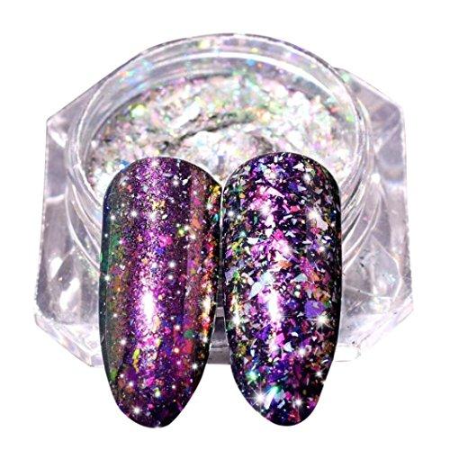 Boîte de poudre holographique, Sensail poudre scintillante arc-en-ciel avec pour décoration d'ongles (I)