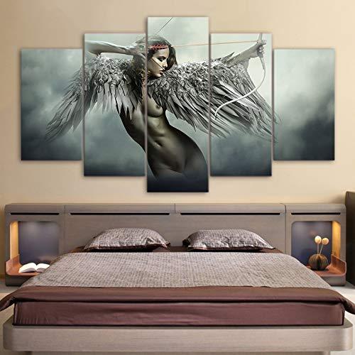 Leinwand-Kunst-Malerei Engelsflügel Körper Sinnlich For Wand-Kunst-Leinwand HD Druckt Bild Malerei Wohnkultur Anime Fantasie Flügel Sexy Girl Poster Keinen Rahmen (Size (Inch) : 20x35 20x45 20x55cm)