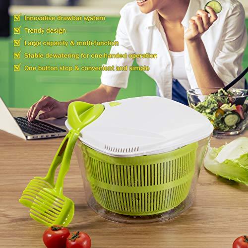 Focovida Salatschleuder 5L mit Deckel und Nudelzange, Design Patent Großer Salattrockner inkl. Salatschüssel zum Servieren & Ablaufsieb für Wasser aus Kunststoff, Hohe Effizienz, Transparent - 2