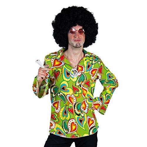 Amakando Knalliges 60er Jahre Männer-Hemd / Grün L (52/54) / Farbenfrohes Flower Power Shirt / Perfekt angezogen zu Fasching & Schlagermove