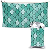 Badetuch, Beach Towels Green Sea Mermaid Fish Scales Hand Towel Sheets Bath Linen Fast Dry Blanket Outdoor Travel Oversized Large Pool Swimsuits Covers Popular Bathroom Washcloths Yoga Mat for Foot