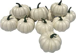 KEDOEO 12 Pcs Artificial White Pumpkins Fake White Pumpkins Wedding Halloween Thanksgiving Tabletop Decoration (12PCS White Pumpkins)