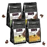 Eguia cafe en grano natural pack de 4 × 250g-No amargo & tostado medio arabica café grain de 4 orígenes Etiopía, Colombia, Guatemala & Brasil