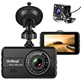 OnReal Dual Dash Cam FHD 1080P Front and Rear Cameras 3' Car Dashboard Recorder with Night Vision, 170° Wide Angle, G Sensor, Parking Monitor, Motion Detection, WDR
