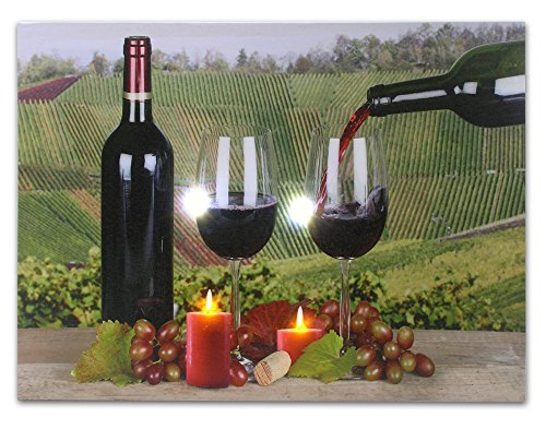 BANBERRY DESIGNS Wine Wall Art - Tuscany Scene with Red Wine and Candles - Light Up Wine Picture - LED Wine Prints