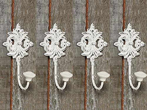 Tamia-Home Wandhaken Kleiderhaken Metallhaken Haken für Bad Küche Garderobe, Haken im Retro Vintage Stil (4er Weiss Schlüssel)