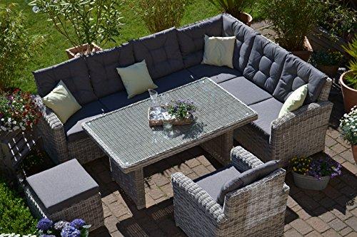 Bomey Rattan Lounge Set I Gartenmöbel Set Manhattan 4-Teilig I Gartensofa Grau + Tisch + Sessel + Hocker + Polster Grau I Essgarnitur für Garten +...