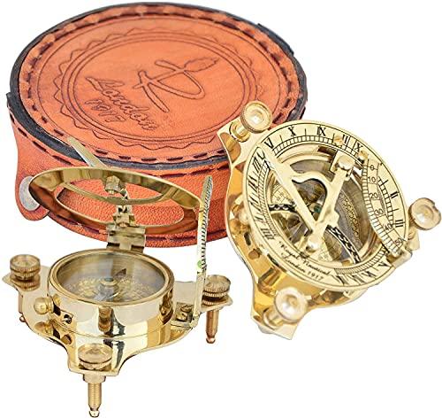 Brújula de latón hecho a mano, brújula de viajero, regalo vintage para senderismo, camping y viajes con funda de cuero marrón