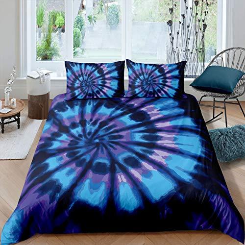 Batik-Bettwäsche-Set, Hippie-Spiral-Bettwäsche-Set, ethnisch, Boho-Bettbezug, Wirbelmuster, gefärbtes Muster, Bettdecke, Bohemian-Stil, mit 2 Kissenbezügen
