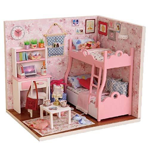 Sharplace Casa de Muñecas Creativa de Bricolaje con Muebles Juego Completo en Miniatura de Madera Romántico Rosa