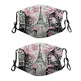 2 mascarillas de tela lavable con lazo ajustable para la oreja, funda de boca de Love Paris, reutilizable y transpirable para hombres y mujeres
