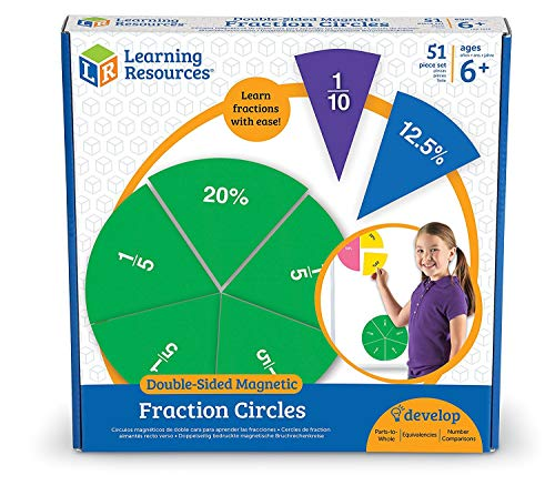 Learning Resources Double-Sided Magnetic Demonstration Rainbow Fraction Circles, Teacher aids, 51 Piece, Ages 6+