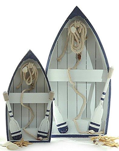 Ruderboot blau/weiß, 19,5x35,5x8cm, mit 2 Rudern, 1 Tau und Muscheln Wanddeko Tischdeko