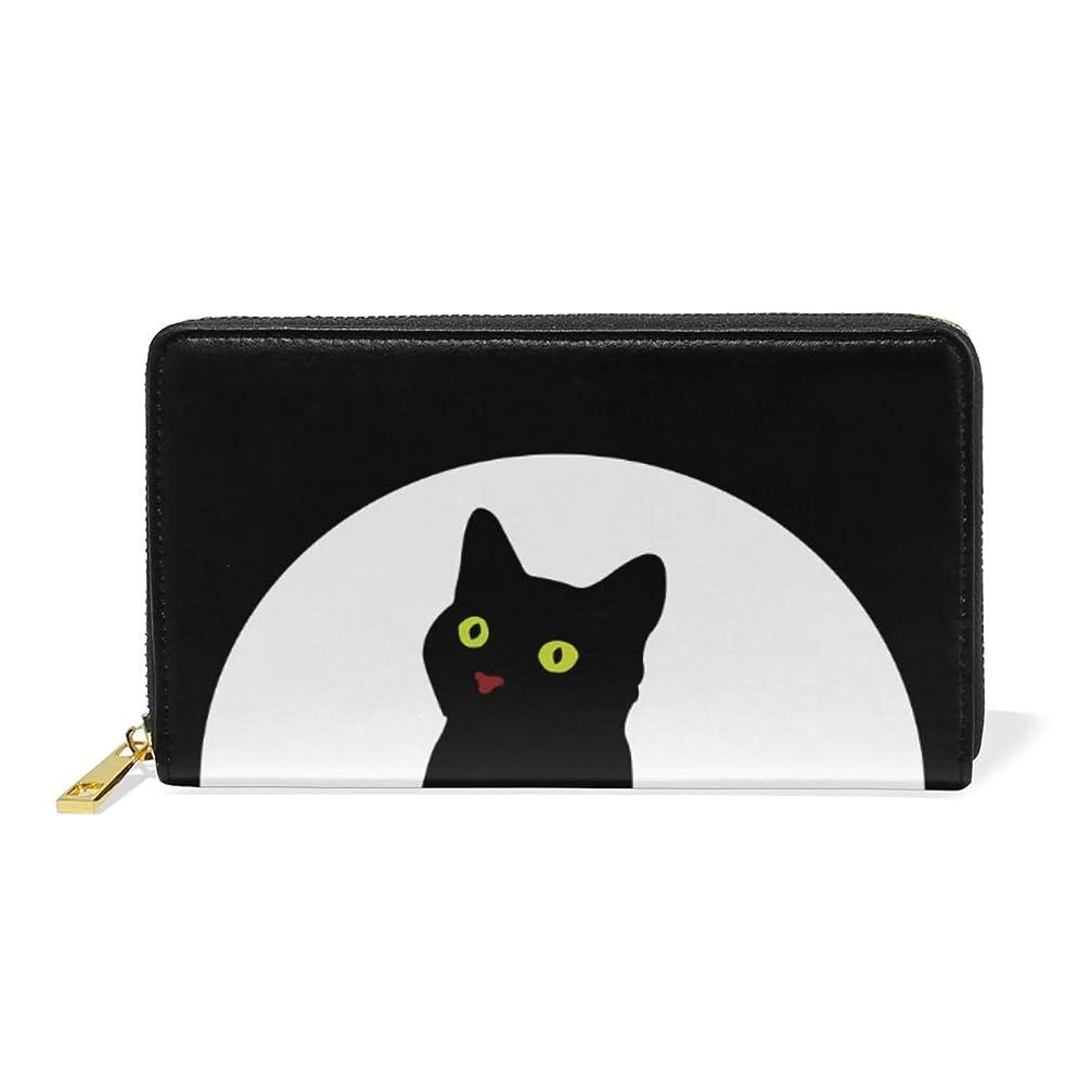 スプーンパーセントユサキ(USAKI) 長財布 レディース 大容量 本革 黒猫 猫柄 ラウンドファスナー おしゃれ 小銭入れ コインケース プレゼント
