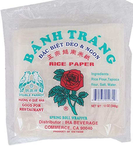 12 oz Banh Trang Spring Roll Wrapper Roll - Square Shape Rice Paper 16 Centimeters