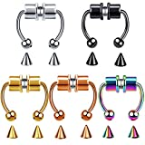 HEIMAXING 5 Pcs Magnetic Septum Fake Nose Ring, Reusable Non-Piercing Horseshoe 316L Stainless Steel Faux Nose Ring Hoop (5 Pcs)