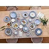 Sunting Geschirrset 6 Personen Blau Tafelservice 36 tlg. Neues Bone China Geschirr Set im Geprägtes Stil mit Rund Speiseteller Suppenteller Dessertteller Müslischüssel Kaffeetassen und Untertassen - 5