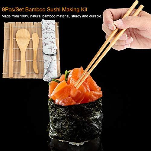 9 ピース/セット竹寿司作りキットには、ローリングマット 2 つ、箸 5 つ、パドル 1 つ、寿司刃 1 つが含まれています。