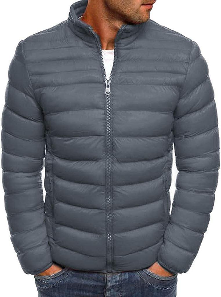 FORUU Down Jacket Packable for Men, Plus Size Winter Solid Fashion Casual Zipper Warm Light Quality Cotton Down Coat