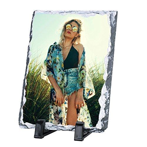 Schiefer mit Foto Personalisierte Schiefertafel mit Ständer Benutzerdefinierte Schieferplatte mit Individuellem Fotodruck Schiefertafel für Geschenk Geburtstag Weihnachten Jubiläum