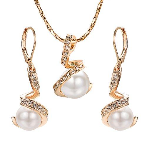 Yoursfs Juego de Joyas Mujer con Cristal Perlas Artificiales Blanco para Mujer